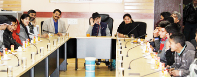 Minister for Education Naeem Akhtar and Minister of State for Education Priya Sethi interacting with students.