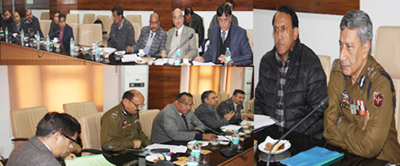 DGP Dr S P Vaid chairing a meeting at Jammu on Tuesday.