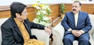Kiran Bedi calls on Dr Jitendra