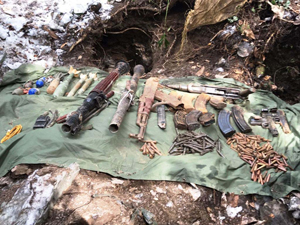 Arms and ammunition recovered in Surankote on Friday.-Excelsior/ Harbhajan