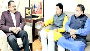 "BJP Tripura State President Biplab Kumar Deb, along with BJP Tripura State ""Prabhari"" Sunil Deodhar, calling on Union Minister Dr Jitendra Singh, at New Delhion Tuesday."