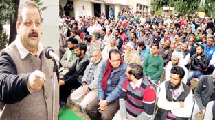 National Conference Provincial President Devender Singh Rana addressing a gathering at Reasi on Sunday.