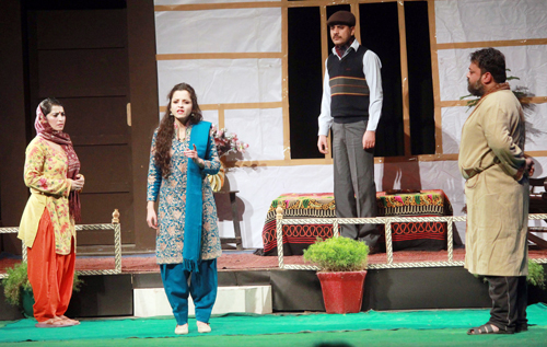 A scene from the play staged at Abhinav Theatre on Wednesday. -Excelsior/Rakesh