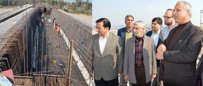 Minister for Public Works A R Veeri inspecting a developmental works in Jammu on Sunday.