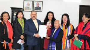 "Union Minister Dr Jitendra Singh receiving a memorandum from Naga women's delegation representing ""Women for Just-Peace"", at New Delhi on Wednesday."