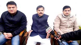 NPP leader Harsh Dev Singh addressing press conference in Jammu on Sunday.