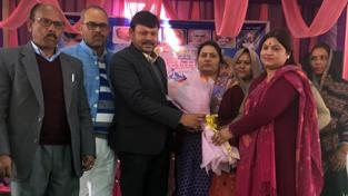 Raja Ram, MP Rajya Sabha being felicitated at function organised to celebrate birthday of Kumari Mayawati at Bishnah.