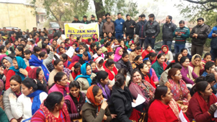 A large gathering of NHM employees during a protest near Press Club, Jammu.
