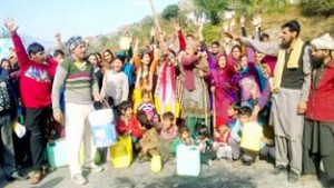 Villagers protesting against irregular supply of drinking water on Tuesday.