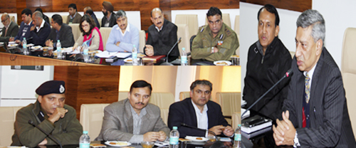 DGP Dr S P Vaid chairing a meeting of senior police officials at PHQ on Saturday.