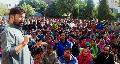 Minister for Forests Choudhary Lal Singh addressing a public gathering at Kathua on Sunday.