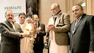 Union Minister Dr Jitendra Singh as chief guest, flanked by union MoS Agriculture Parshottam Rupala and Acharya Balkrishna from Patanjali, lighting the traditional lamp to inaugurate the two-day International Symposium on Medicinal plants of India, at New Delhi on Thursday.