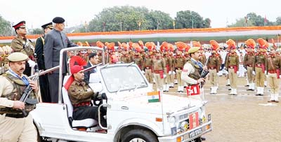 Governor N N Vohra inspecting Republic Day parade at Jammu.