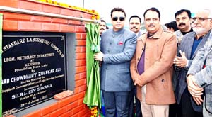 Food Minister Zulfkar Ali laying foundation of LMD lab at Akhnoor on Sunday.