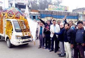 Shobha Yatra being flagged off from Kabir Mandir Utterbehini on Sunday.