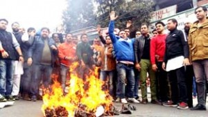 BJYM protests against NC, Congress