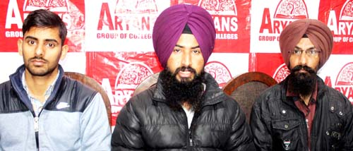 Aryans team addressing a press conference at Jammu on Thursday.