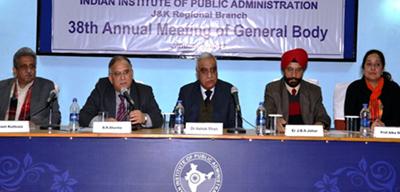 Chief Secretary B R Sharma, ex-DGP Ashok Bhan and others attending AGM of IIPA's Regional Branch.