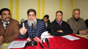 KCCI President and others addressing press conference at Srinagar on Tuesday. -Excelsior/ Shakeel