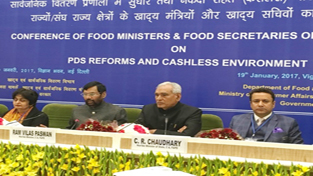 Union Minister for Food and Public Distribution Ram Vilas Paswan and Minister for FCS and CA Chowdhary Zulfkar Ali at a national conference of Food Ministers in New Delhi on Thursday.