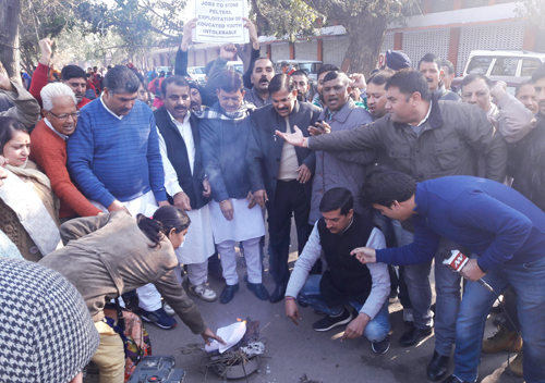 Educated youth torching degrees at Jammu in protest against jobs to stone pelters.