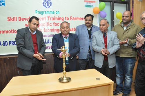 District Development Commissioner Reasi, Ravinder Kumar, lighting a traditional lamp at the skill development training program at Salal Power Station, Reasi on Saturday.