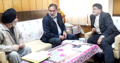 Minister for Finance Dr Haseeb Drabu & Minister for Animal Husbandry A G Kohli during a meeting at Jammu on Monday.