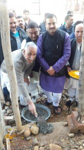 Manhas inaugurates development work at Bawa Kailakh Dev Asthan