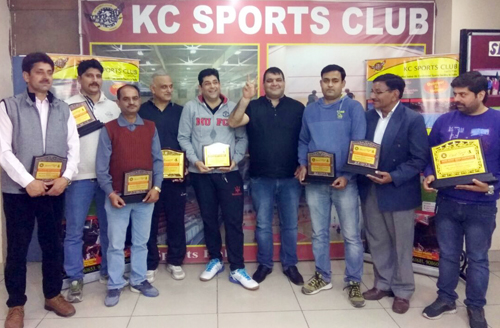 President J&K Squash Rackets Association, Waseem Raja and other dignitaries during the concluding ceremony of District Jammu Squash Championship on Monday.