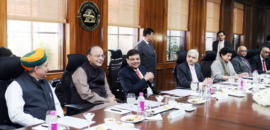 Union Minister for Finance and Corporate Affairs, Arun Jaitley addressing the Central Board of Directors of the Reserve Bank of India in its customary post- budget meeting, in New Delhi on Saturday.