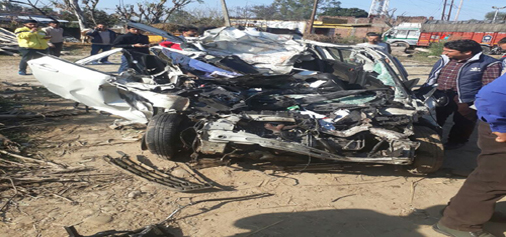 The Swift car which was damaged in a road accident at Palli near Kathua on Monday. -Excelsior/Magotra