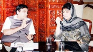 Union Surface Transport Minister Nitin Gadkari in a meeting with Chief Minister Mehbooba Mufti in New Delhi on Friday.