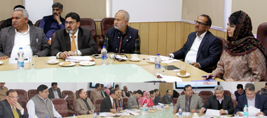 Chief Minister Mehbooba Mufti reviewing the progress of mega developmental projects in Jammu on Tuesday.