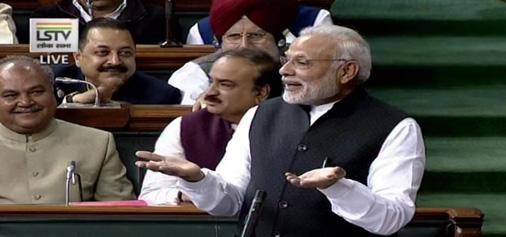 A TV grab shows Prime Minister Narendra Modi speaking at Lok Sabha in New Delhi on Tuesday. (UNI)
