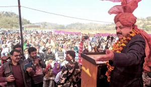 Union Minister in PMO, Dr Jitendra Singh addressing a  public gathering at Dhol Khud, Kathua on Saturday.
