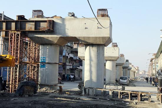 Under construction Jehangir Chowk-Rambagh flyover in Srinagar. — Excelsior/Shakeel