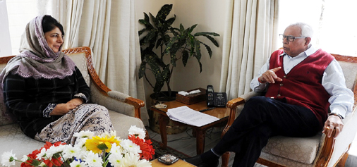 Governor NN Vohra in a meeting with Chief Minister Mehbooba Mufti at Raj Bhavan on Tuesday.