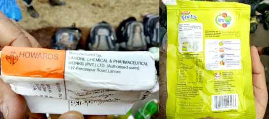 Pak made drugs and drinks recovered from the encounter site on LoC at Keri in Rajouri on Tuesday. -Excelsior/Rakesh
