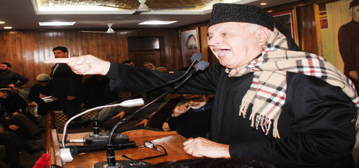 NC president Dr Farooq Abdullah addressing his party workers in Srinagar on second death anniversary of Sheikh Nazir Ahmad. -Excelsior/ Shakeel