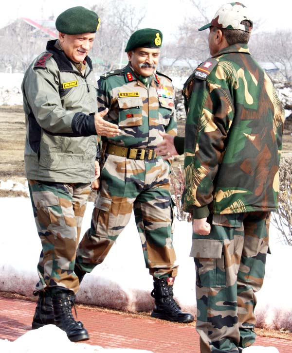 Army chief Gen Bipin Rawat during a visit to Baramulla on Wednesday.