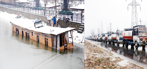 A houseboat collapsed due to heavy snow and rains in Srinagar (left) and a long queue of vehicles stranded on National Highway at Qazigund on Sunday. Another pic on page 9. — Excelsior pics by Shakeel & Younis Khaliq