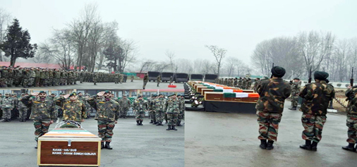Wreath laying ceremony of Army-men at Badami Bagh Cantonment, in Srinagar based headquarters of the 15 Corps on Tuesday. (UNI)