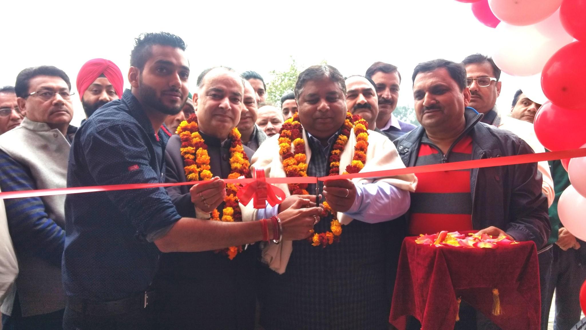 BJP State President and MLA Jammu West Sat Sharma inaugurating JS Wheels Showroom at Greater Kailash.