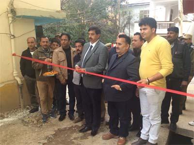 MLA Pawan Gupta inaugurating construction work in Udhampur.
