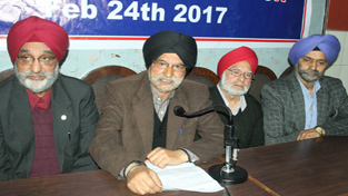 Kashmir Sikh Sangat chairman, Dhanwant Singh and president Sewa Singh, addressing a joint press conference in Jammu on Wednesday. -Excelsior/ Rakesh