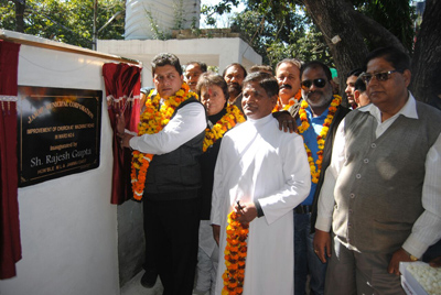 Rajesh Gupta, MLA Jammu East inaugurating tile work near St. Paul Church at Jammu on Sunday.