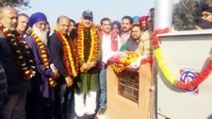 MP Jugal Kishore Sharma inaugurating transformer at Samba on Saturday.     -Excelsior/ Gautam