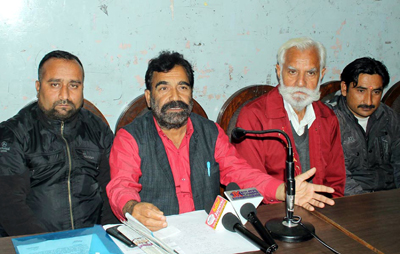 Gen Secy of PHE Workers Welfare Association, Subhash Verma addressing press conference in Jammu on Thursday. -Excelsior/ Rakesh