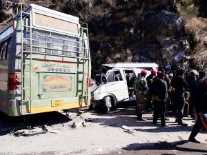 Ill-fated vehicles after accident at Karara in District Doda.  —Excelsior/Tilak Raj