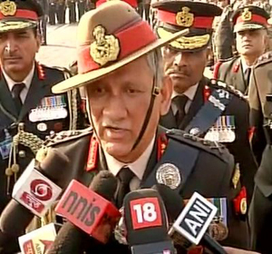 Army chief Gen Bipin Rawat speaking to reporters in New Delhi on Wednesday.
